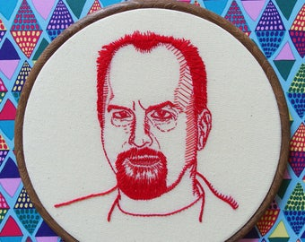 Louis CK embroidery portrait - hand embroidered comedian hoop art wall decor