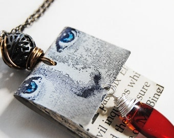book necklace,blood red dagger,unusual necklace,one of a kind necklace, gifts under 50
