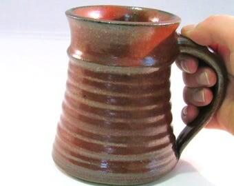 Small Stein - 16 oz. Tankard - Stein - Coffee Mug - Handmade Pottery - Rustic Rust Red - Pottersong - Renaissance Stein - Small Stein