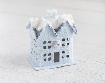 Blue Christmas Cottage - Retro Putz House Decoration