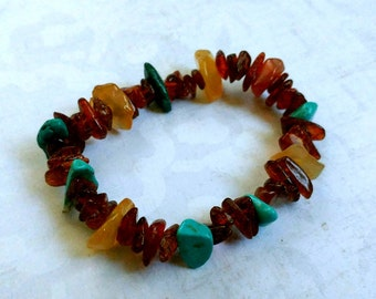 Amber, Turquoise & Red Agate Gemstone Chip Stretch Bracelet