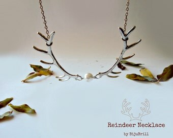 Reindeer Necklace, Silver Branch Necklace, Pearl Necklace, Animal Jewelry, Woodland, Forest Jewelry, Antlers Necklace, Coral Necklace, Xmas