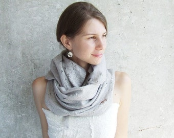 Sale Merino Wool Felt Scarf, Hooded Scarf, Wool Infinity Scarf, Cowl Scarf, Neck Warmer, Oversized Scarf, Winter Wedding Shawl, Gray Shawl