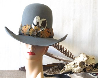 COWPOKE CUTIE Vintage 70s Hat | 1970s Cowboy Hat with Pheasant Feathers by Resistol with Hat Box | Western, Southwest, Boho | Size 7