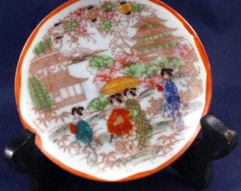 Vintage Hand Painted Porcelain Geisha Design Plate Made in Japan, 1920s