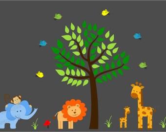 Jungle Wall Decal,Jungle Wall Sticker,Jungle Bedroom Art,Wall Art Stickers,Nursery Jungle Decor,Jungle Land Decals for Children,Brown Tree