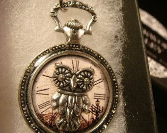 Owl over Clock Image Pocket Watch Style Pendant Necklace (2374)