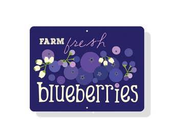 """Farm Fresh Blueberries Farm Sign 12X9"""""""