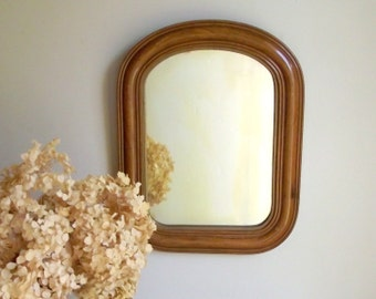 Antique Wood Mirror with Faux Wood Grain Finish | Wood Framed Hanging Wall Mirror | Tombstone Mirror | Vintage Farmhouse Decor