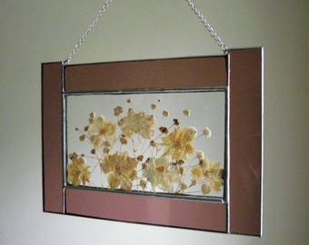 Stained Glass Floral Window Panel , Vintage Pressed Flowers in Stained Glass Frame , Pressed Flower Suncatcher Wall Hanging , Cottage Chic