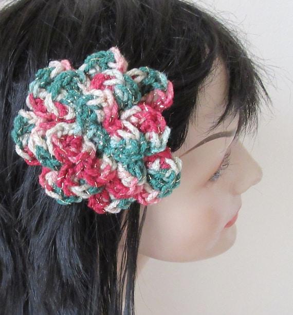 Christmas Barrette Barrette  Crocheted Flower Barrette Hair Accessory