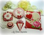 Echo Park Love Story by Lori Whitlock Handmade Paper Hearts and Paper Embellishments for Scrapbooking Cards Mini Albums Tags Paper Crafts