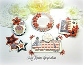 Americana/ Patriotic /July 4 /Independence Day Paper Embellishments and Stars for Scrapbook Layouts Cards Tags Mini Albums Paper crafting