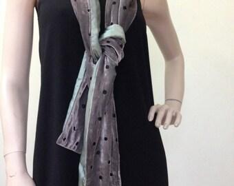 Velvet scarf brown scarves silk scarve black scarf elegant gift for her gift for mom brown velvet brown silk pure silk sage green scarf