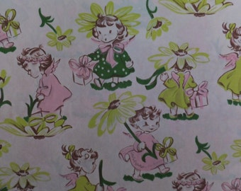 Vintage Pink Green Angel Baby Girls Babies Garden Gardening Gift Wrap Wrapping Paper