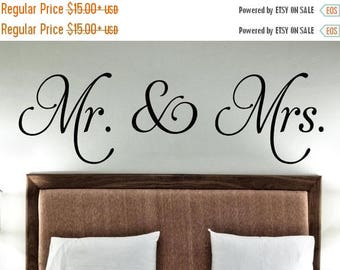 20% off Mr. & Mrs -Vinyl Lettering wall decals words wedding gift family friends decal graphics sticker love bedroom Home decor itswritteni