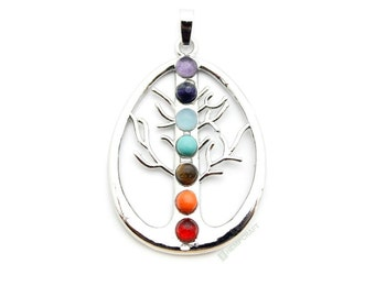 Tree of Life Gemstone Chakra Pendant, 1pc, 48x34x4mm