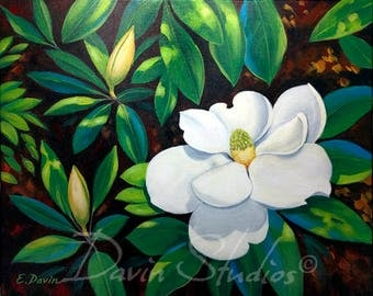 Magnolias, Southern magnolias, Magnolia Painting, magnolia signed art print.