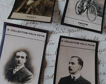 9 superb antique French FELIX POTIN chocolaterie photographic cards famous public figures.