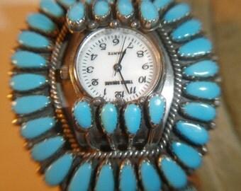 Vintage Zuni Watch Cuff Bracelet, Zuni, Sterling, Turquoise, circa 1960's