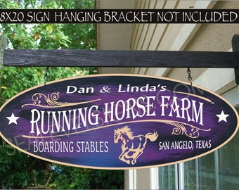 RUNNING HORSE Farm Ranch Cowboy Cowgirl Gift Family Name Aluminum Custom Personalized Sign