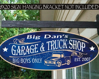 AUTO 917  Garage And Truck Shop Street Rods Car Garage And Hot Rod Shop Man Cave Gift Family Name Aluminum Custom Personalized Sign