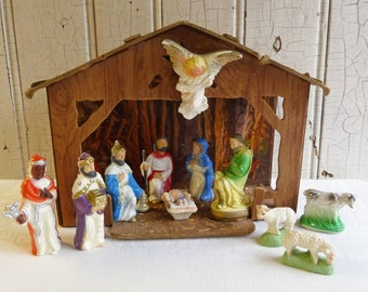 Vintage Nativity Set or Creche -- Stable and Ten Chalkware and Plastic Figures - Mix and Match Nativity Set - Mid-Century 1940s to 1960s