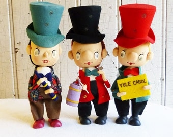 Christmas Carolers with Stocking Faces - Made in Japan Pose Dolls - Mid-Century 1960s