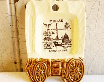 Vintage Texas Souvenir Ashtray or Trinket Tray - Covered Wagon - Astrodome, Alamo, Cotton Bowl, San Jacinto Monument - Mid-Century 1960s