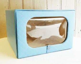 Vintage Quilted Sweater or Hat Box - Wardrobe Closet Storage  - Hinged Lid with Window - Model Home by Enrich - Mid-Century 1950s