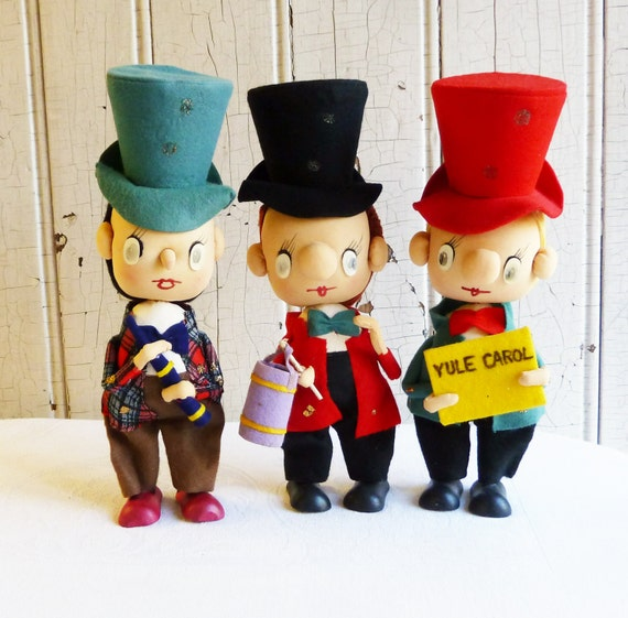 Noel Christmas Carolers Decoration Felt Clothes Big By: Vintage Christmas Caroler Figures Stocking Faces Made In