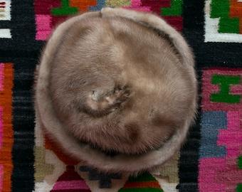 Vintage 1960's Gothic Mink Paw Fur Hat Women's Union Made