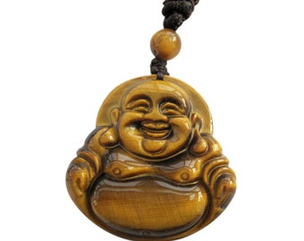 Tiger Eye Gem Happy Lucky Tibetan Buddhist Buddha Amulet Pendant 30mm*29mm  T3327