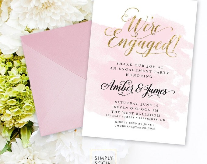 Engagement Party Invitation - Faux Gold Foil Blush Pink Watercolor Classy Black and White Calligraphy Typography We're Engaged Printable
