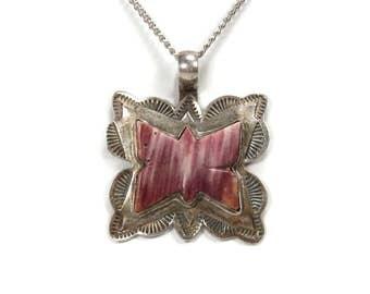 Spiny Oyster Butterfly Pendant Vintage Sterling Silver