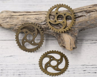 8pcs of Antique Bronzed Tone Large Steampunk Gear Charms Pendants Drops, Double-sided