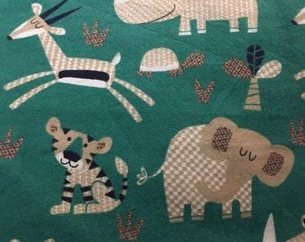 Teal Safari - Flannel Fabric - 1 yard