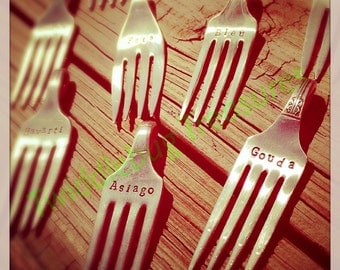 Recycled Fork - Hand Stamped Vintage Fork - Fork Cheese Markers - Housewarming Gift - Hostess Gift