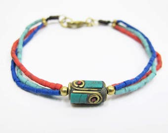 Yoga Bracelet - Tri Color  Baked Clay and Drum Tibetan Style Brass Bracelet.