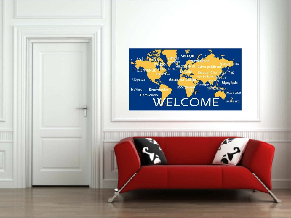 welcome wall decals in international languagesworld map wall zoom