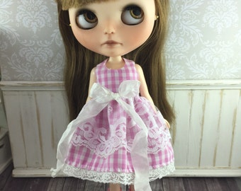 Blythe Dress - Pink Gingham with Lace