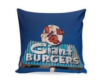 Quarter Pound Giant Burger Pillow Cover | Neon Sign Pillow | Mid Century Pillow | Oakland Decor | Decorative Pillow Cover | Retro Pillow