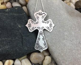 Beautiful handmade stamped sterling silver cross pendant