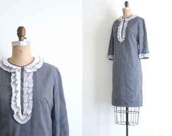 3 DAY SALE 1950s 60s gray L'Aiglon dress - organdy ruffle dress / 60s vintage loita dress - mod dolly dress / mod L'Aiglon designer dress