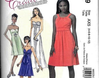 McCall's M6029 Create It Evening Dress Strapless Sewing Pattern UNCUT Size 4, 6, 8, 10, 12