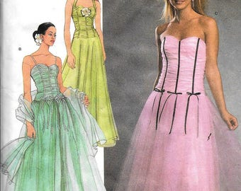 Simplicity 4686 Jessica McClintock Lovely Prom Gowns Evening Dress Sewing Pattern Size 12, 14, 16, 18, 20