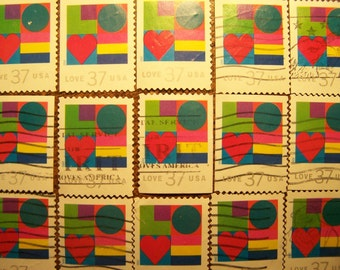 Valentine Love Stamps - Lot of 100 Contemporary Used Love Stamps as Pictured