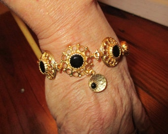 3 Domed, Bezel-Set 22K Gold FILIGREE Black ONYX Foci Bracelet w/4 Onyx-Gold Stones, 22K Gold Textured Magnetic Clasp & Gold and Onyx Charm