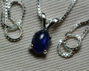 Sapphire Necklace, Blue Sapphire Cabochon Pendant 1.12 Carat Appraised at 500.00, September Birthstone, Genuine Sapphire, Sterling Silver