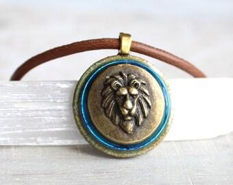 sky blue lion necklace, mens jewelry, lion jewelry, mens necklace, unique gift, nature necklace, animal necklace, mens gift, leo necklace